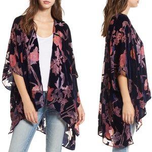 Woven Heart Floral Burnout Velvet Kimono-NWT-OS
